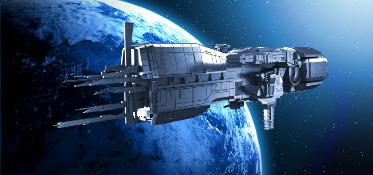 24525403 - spaceship with planet earth